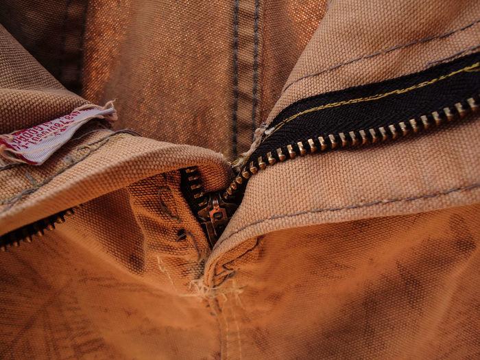 Close-up of jeans zipper