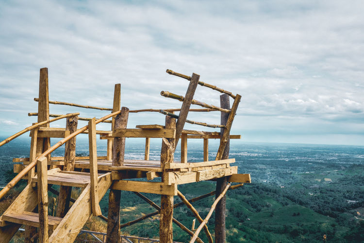 Viewpoint deck of mountain against sky