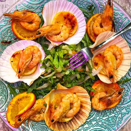 Food Food And Drink Seafood Freshness Healthy Eating Ready-to-eat Indoors  Plate Wellbeing Shrimp - Seafood High Angle View No People Close-up Vegetable Crustacean Serving Size Choice Still Life Directly Above Dinner