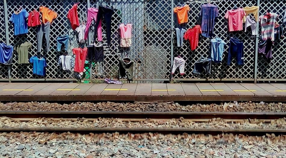 Dry Clothes Dry Clothes In The Sun Dry Clothes Outside Life Style View At Train Station Train Station Story Drying Clothes Creative Photography Dry Clothes At The Roadside
