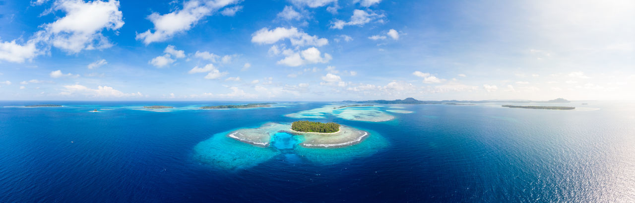 Sea Water Blue Sky Horizon Over Water Cloud - Sky Horizon Day Scenics - Nature Nature No People Beauty In Nature Tranquility Island Tranquil Scene Land Outdoors Underwater Travel Destinations Lagoon Turquoise Colored