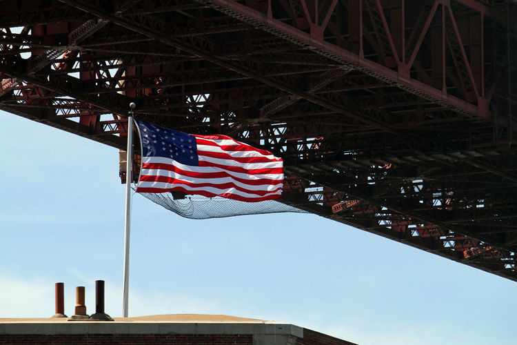 Low angle view of bridge flag against sky in city