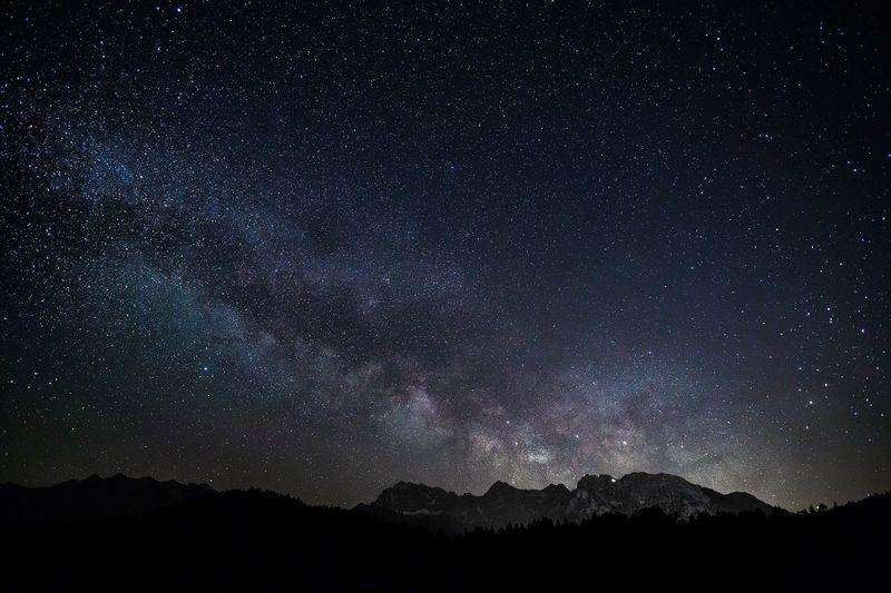Milky Way Star - Space Mountain Nature Sky Astronomy Galaxy Landscape Alps Karwendel Karwendelgebirge Night Long Exposure Bavaria Bavarian Alps Mittenwald Garmisch