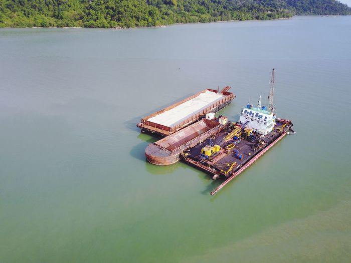 Drone Photography High Angle View Floating On Water Aerial View No People Day Nautical Vessel Offshore Platform