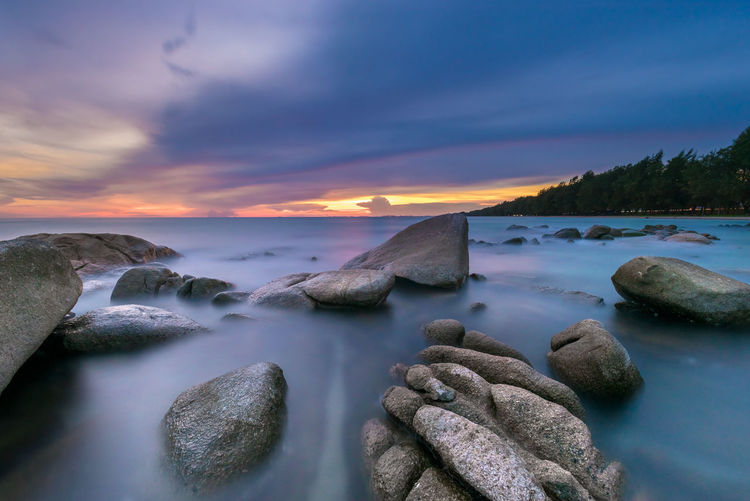 White Stone Park (Larn hin khao), Mae Rumphueng Beach, Rayong province, Thailand. Sunset_collection Beauty In Nature Cloud - Sky Landscape Long Exposure Nature Sea Seascape Sky Smooth Stone Sunrise Sunset Tender Water