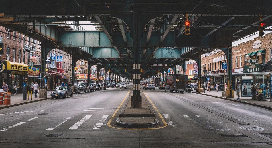 Illuminated road in city