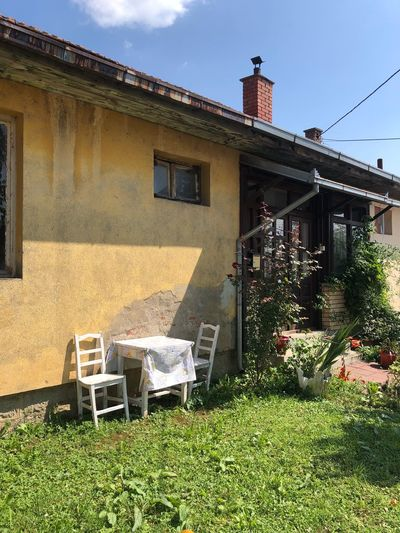 Relax Garden Summertime Balkan Flowers Rustic Travel Europe Old Town Summer Lifestyle Serbia Building Exterior Built Structure Architecture Plant Nature Sky Day Sunlight Residential District Front Or Back Yard Grass Window Seat Land Green Color Outdoors House No People Growth