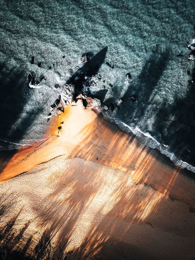 High angle view of sunlight falling on land