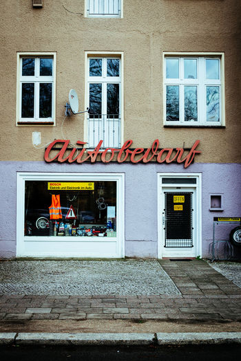 Autobedarf Architecture Berlin Building Exterior Built Structure Day No People Old Old Buildings Outdoors Retro Sign Signage Text Vintage Window