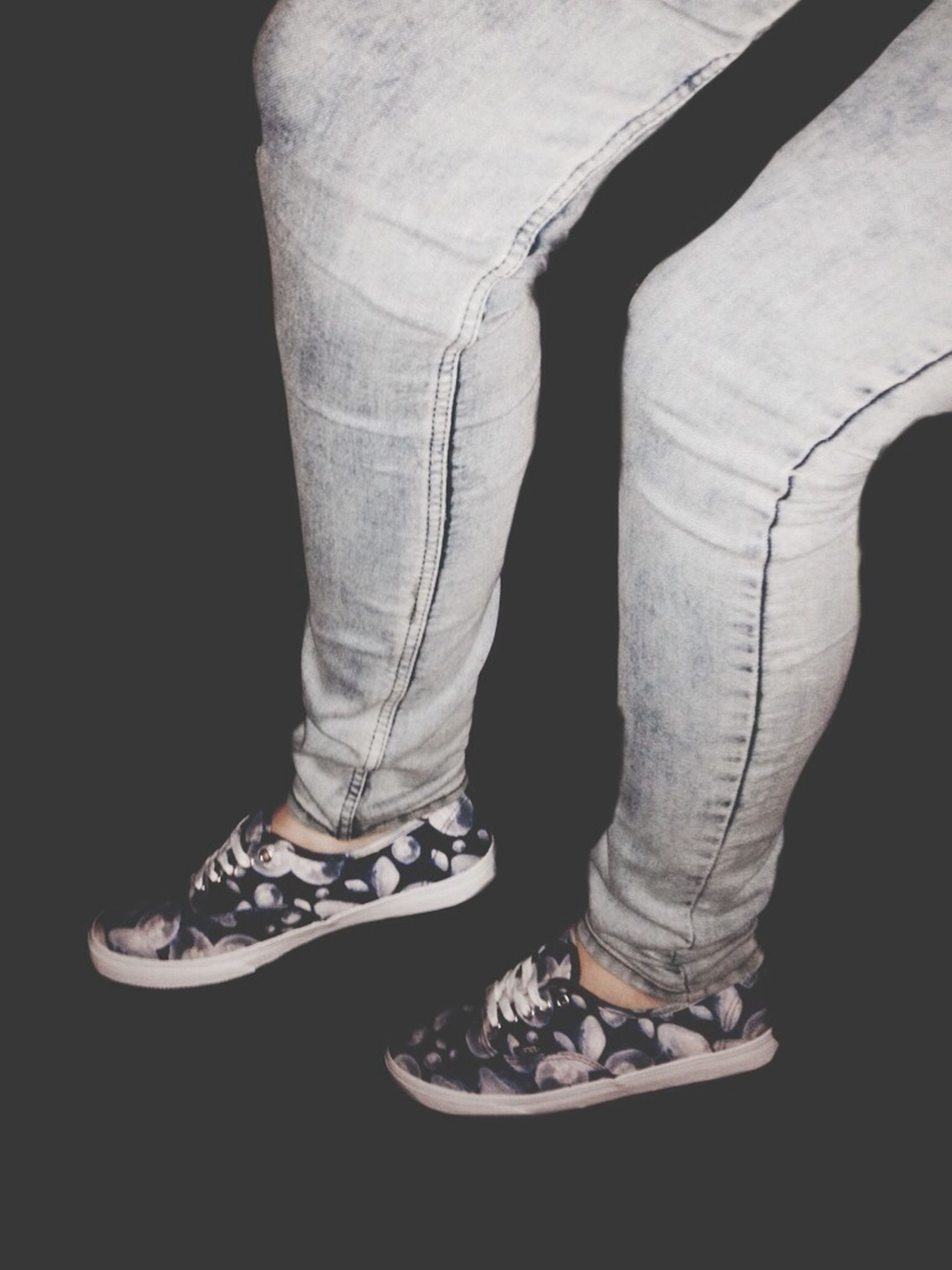 indoors, shoe, studio shot, low section, fashion, black background, person, standing, lifestyles, men, close-up, footwear, copy space, jeans, casual clothing, dark