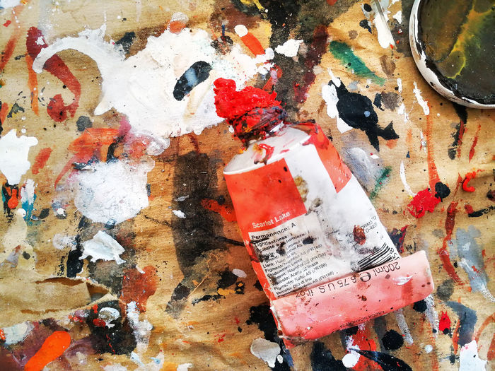 Multicolored palette composed of tempera and oil colors Art Backgrounds Brush Close-up Creative Day Drawn Drop Full Frame Indoors  Multi Colored Multicolored Oil Paints Paintbrush Painting Palette Random Raw Signs Smooth Stain Stained Table Cloth Textured  Worked