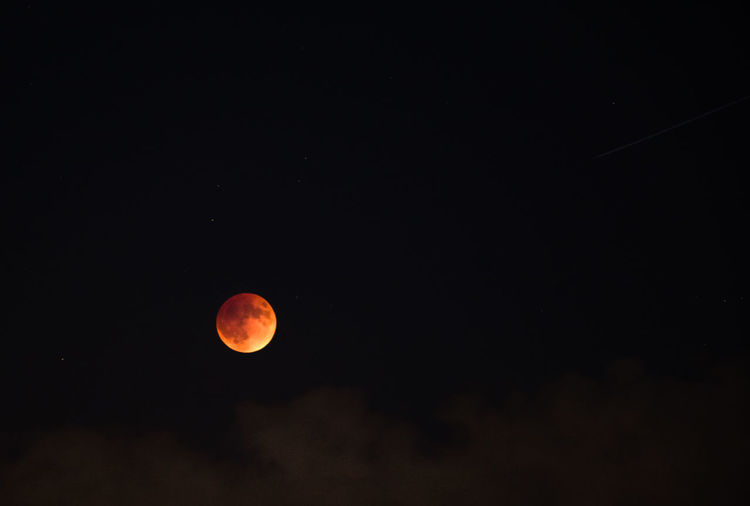 Super Blood Moon rises over clouds in San Francisco, CA Astrophotography Black Background Bloodmoon Dark Eclipse Moon Night