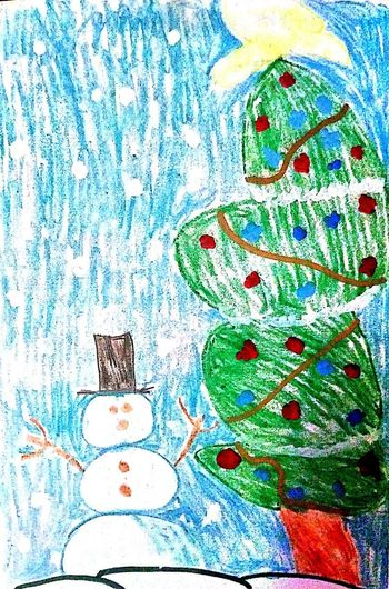 I drew this, then colored it. It is a Christmas card that I made. Close-up Drawing Coloring Christmas Time Snowman⛄ Christmas Tree