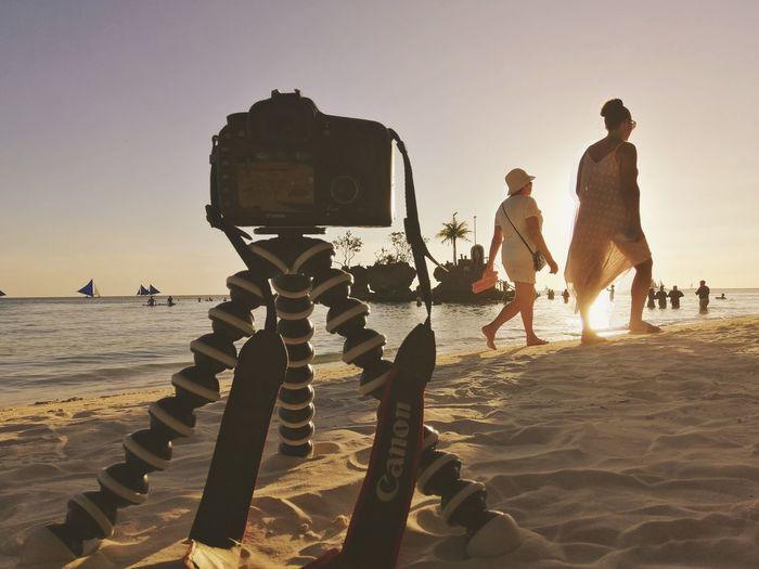 Boracay sunset Beach Sunset Full Length Men Water Sand Wet Silhouette Sea Sky
