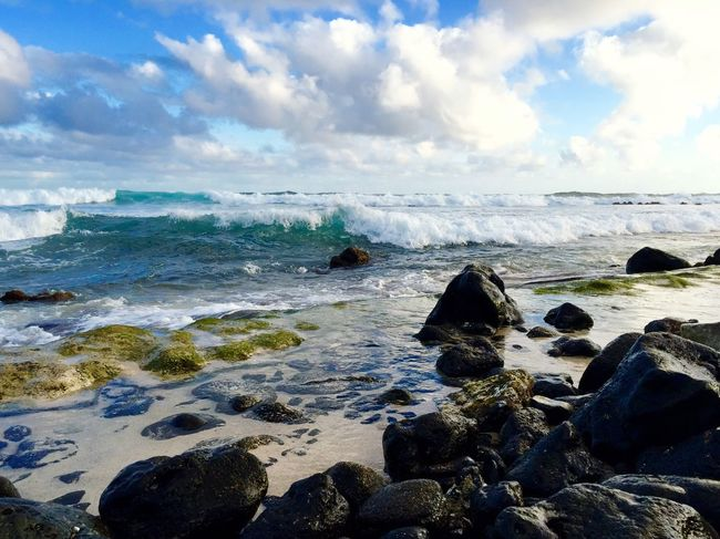 Ocean Sea Water Sky Cloud - Sky Beach Land Solid Beauty In Nature Nature Rock - Object Scenics - Nature Tranquility Wave Tranquil Scene Outdoors Horizon Over Water EyeEmNewHere