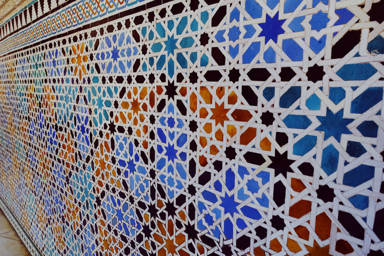 Pattern Pattern, Texture, Shape And Form Wall Full Frame Architecture Close-up Multi Colored Backgrounds White Color Art And Craft Built Structure Design Blue Orange Color Building Mood Tile Mosaic Floral Pattern Old Buildings Wall - Building Feature Shape Creativity No People Lines