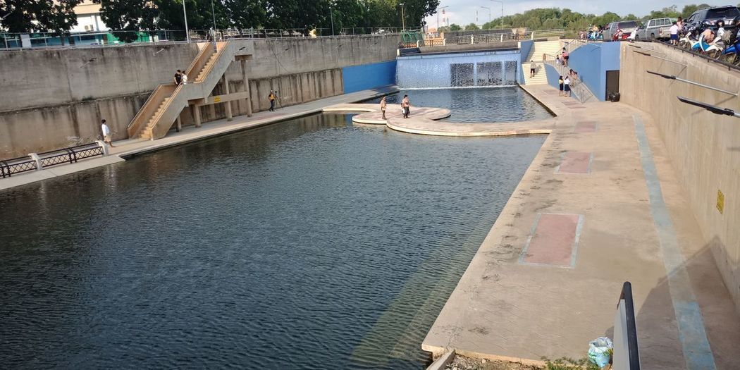High angle view of swimming pool by river