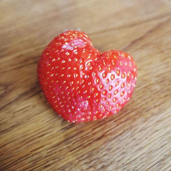 Strawberry Heart Heart Shape Heart Funny Shaped Food Strawberry, Fruit Fruits Fruitporn Red Love Amour EyeEm Best Shots EyeEm Gallery Red Love Table Heart Shape Close-up Sweet Food Wood Grain