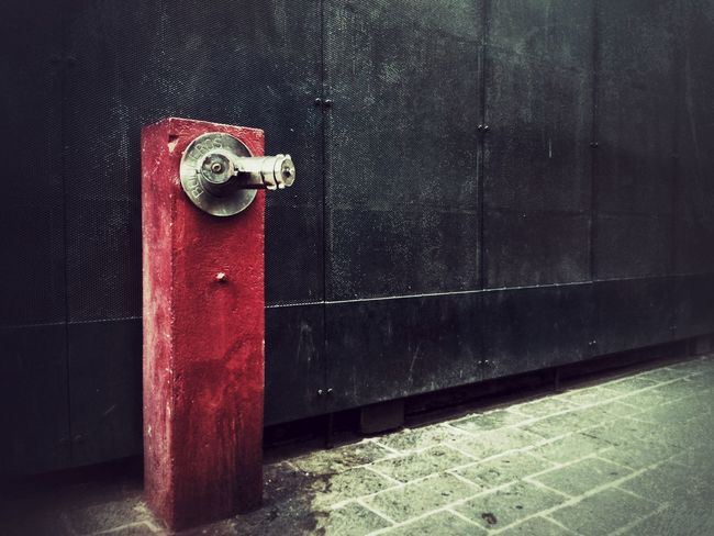 Metallic Wall Bomberos Toma De Agua Water Intake Red No People Day Water