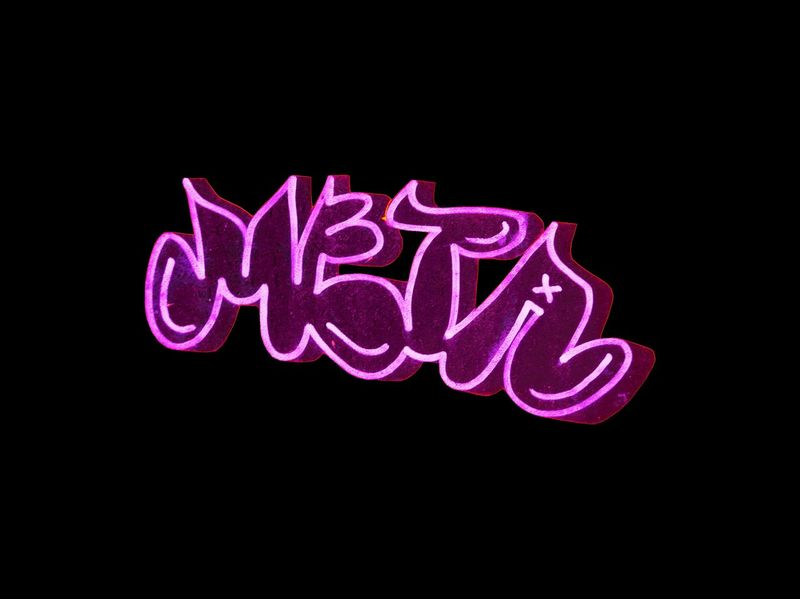 Graffiti Art Text Communication Western Script Black Background Illuminated No People Neon Pink Color Single Word Close-up Creativity Sign Message Glowing