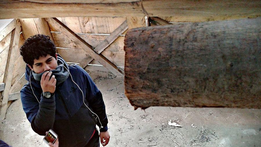 Man Looking At Log Indoors