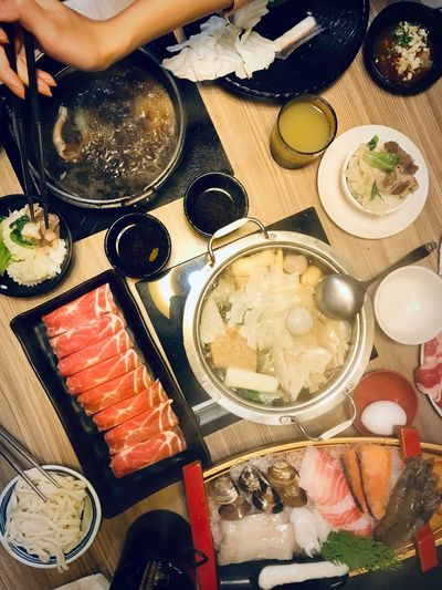 ShotOnIphone Hot Pot Kaoshiung Taiwan Taiwanese Food Food And Drink Food Indoors  Healthy Eating Table High Angle View Seafood Variation Lifestyles Bowl Human Body Part One Person Fish Directly Above Ready-to-eat Still Life Freshness Wellbeing Real People Choice