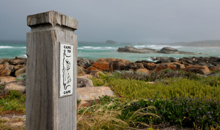 Text Land Communication Sign Sea No People Beauty In Nature Tranquility Hiking Western Australia Redgate Beach Coast To Coast Margaret River Region Walking Trail Storm Cloud Rock - Object