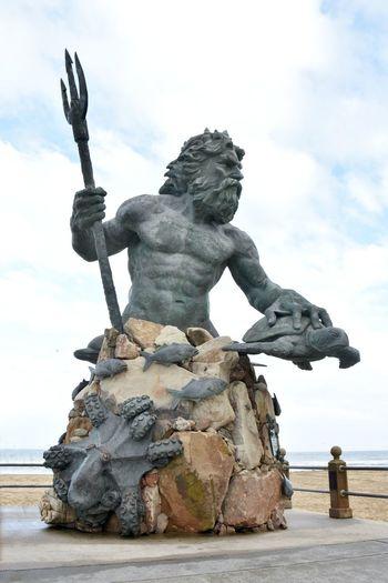 Sculpture Art And Craft Representation Statue Human Representation Male Likeness Sky No People King Neptune King Neptune Statue Virginia Beach Virginia Beach Boardwalk Mythology