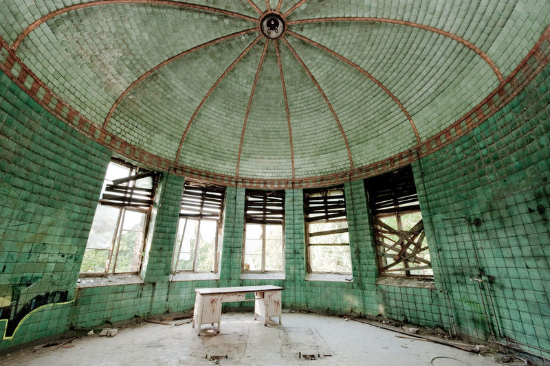 Spacious hall in abandoned building