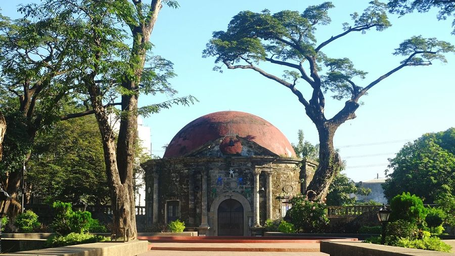 The Saint Pancriatius Chapel inside Paco Park is perfectly framed by an arching tree following the shape of its dome. Paco Park Manila Manila, Philippines Chapels Parks Fujifilm_xseries