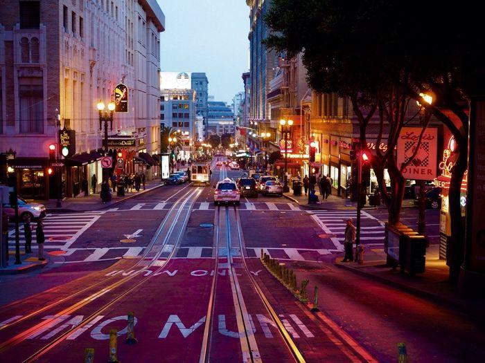 San Francisco San Francisco Street City Illuminated Transportation City Street Road Traffic City Life Night Outdoors Street Light Cityscape Architecture