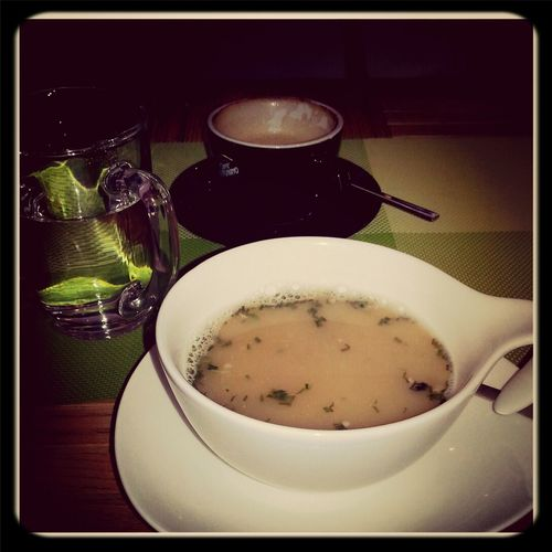 delicious miso soup and a cappuccino for making life a little bit bearable. Fucklove#depressed Sad, Depressed But Well Dressed  Taking Photos I Hate Myself