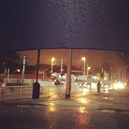 The raining night made me feel cool.