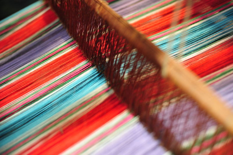 Close-up of multi colored threads