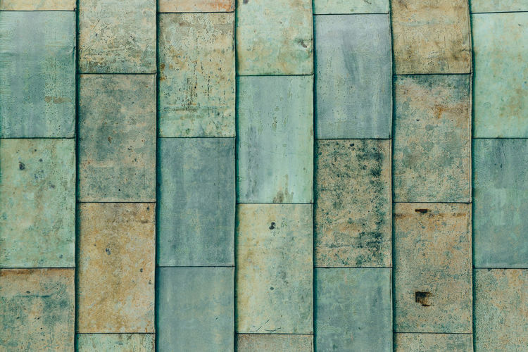 full frame of weathered copper roof Architecture Backgrounds Built Structure Close-up Day Directly Above Full Frame In A Row No People Old Outdoors Pattern Side By Side Textured  Turquoise Colored Wall - Building Feature Weathered