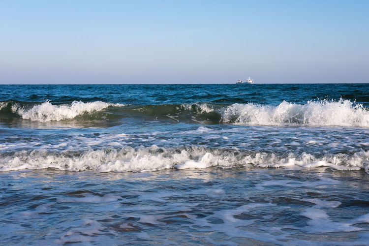 Sea Water Motion Horizon Over Water Wave Horizon Sky Scenics - Nature Beauty In Nature Sport Clear Sky Aquatic Sport Surfing Nature Land Waterfront Day Outdoors Power In Nature Flowing Water