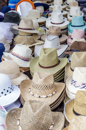 High Angle View Of Hats For Sale In Market