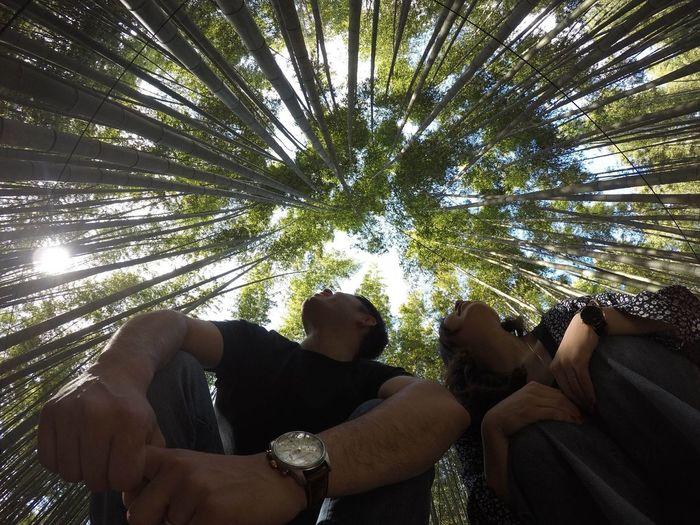 Kyoto, Japan Arashiyama Bamboo Grove Arashiyamabambooforest Arashiyama Chikurinnokomichi Chikurin GoPro Hero 5 Black Tree People Adult Vacations Day Togetherness Low Angle View Nature Only Men Outdoors Adults Only Friendship Sky