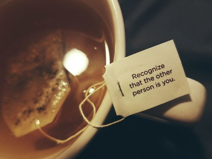 Close-Up Of Message On Green Tea