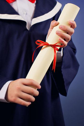Achievement Celebration Diploma Graduation Greeting Kids Ribbon Degree Education Future Hand Holding School Boy Scroll University