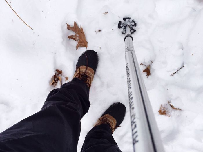 Winter Snow Hiking Cold White White Album Llbean Boots Walking Outdoors Adventure Ski Pole Feet Leaves Duck Boots