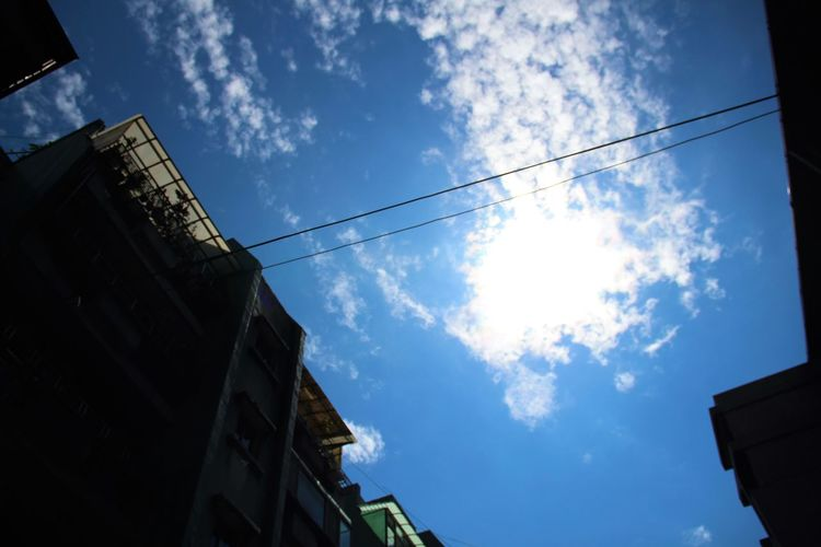 #bluesky @Clouds @comfort @smalltown @sunday @sunnyday @taipei @urban Cloud Cloud - Sky Development Electricity  Low Angle View Outdoors Perspective Power Line  Sky Structure