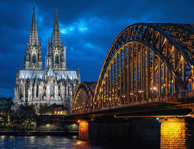 Built Structure Architecture Building Exterior Sky Building Bridge Bridge - Man Made Structure Connection River Illuminated Travel Destinations Water Place Of Worship Religion Nature Spirituality No People Dusk Outdoors Arch Bridge Spire