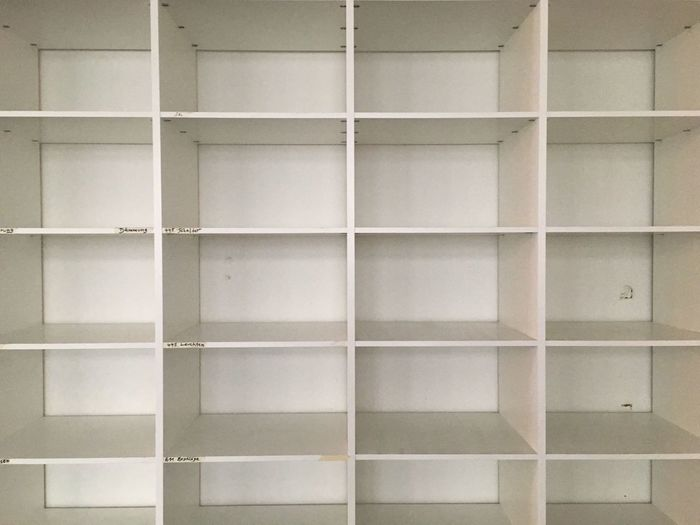 Full Frame Shot Of Empty White Shelves