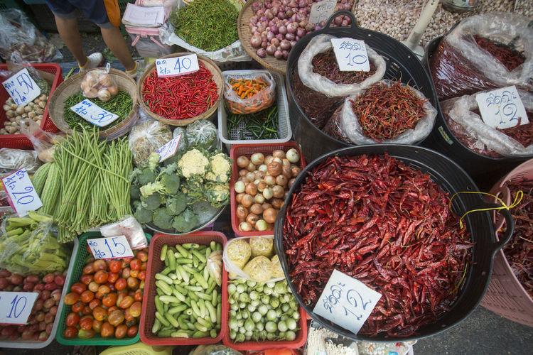 High angle view of vegetables and spices for sale at market stall