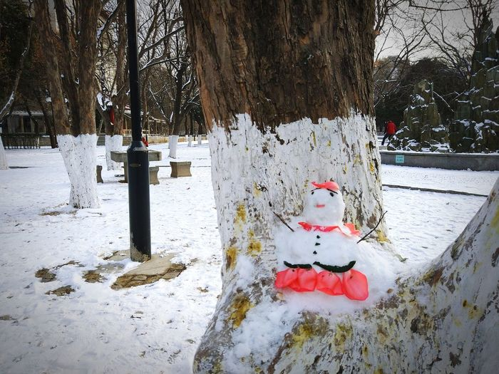 Snow Cold Temperature Winter Snowman Taking Photos Hello World Happy New Year 2018