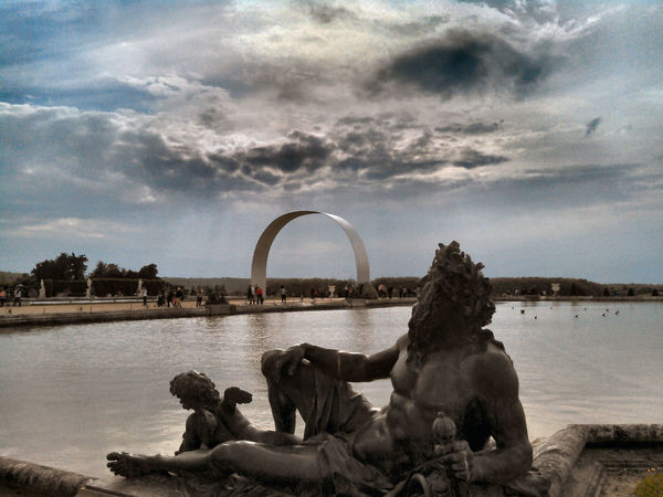 Beauty In Nature Cloud - Sky Fountain Statue Tranquil Scene Versailles Gardens Water