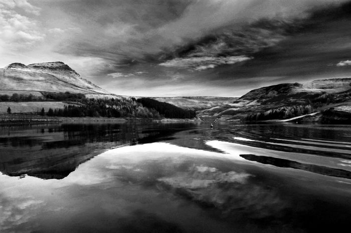Photograph taken at Dovestones Reservoir on a crisp Winter morning. Awe Beauty Beauty In Nature Blackandwhite Bold Cloud - Sky Cultures Day Glass Lake Limitless Majesty Mountain Nature No People Outdoors Power Reflection Ripples Scenics Serenity Sky Tranquil Scene EyeEm Best Shots Eye4photography