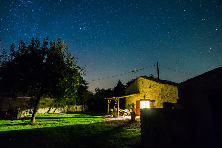 bordeaux france farmhouse in the evening with stars Architecture Astronomy Beauty In Nature Bordeaxu Constellation Galaxy Milky Way Nature Night No People Outdoors Sky Space Space And Astronomy Star - Space Star Field Tranquility Tree