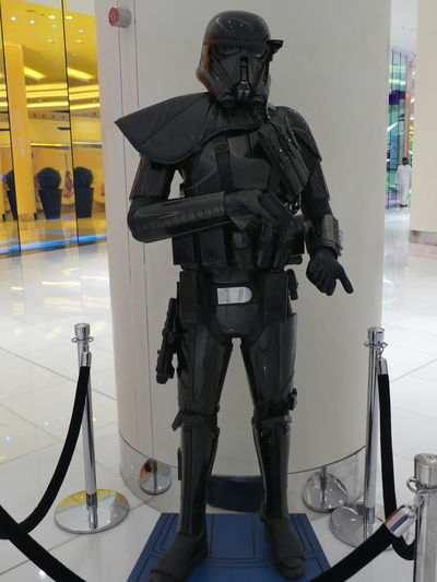Star Wars Soldier in the Dubai Mall, Dubai, United Arab Emirates 2019 Dubai UAE 2019 Standing Full Length Technology Star Wars Security Occupation Military Uniform Helmet Photography Themes Holding Gun Star Wars The Force Awakens Display Dubai Mall Mall Shopping Centre Soldier Full Frame Composition Indoor Photography Scifi